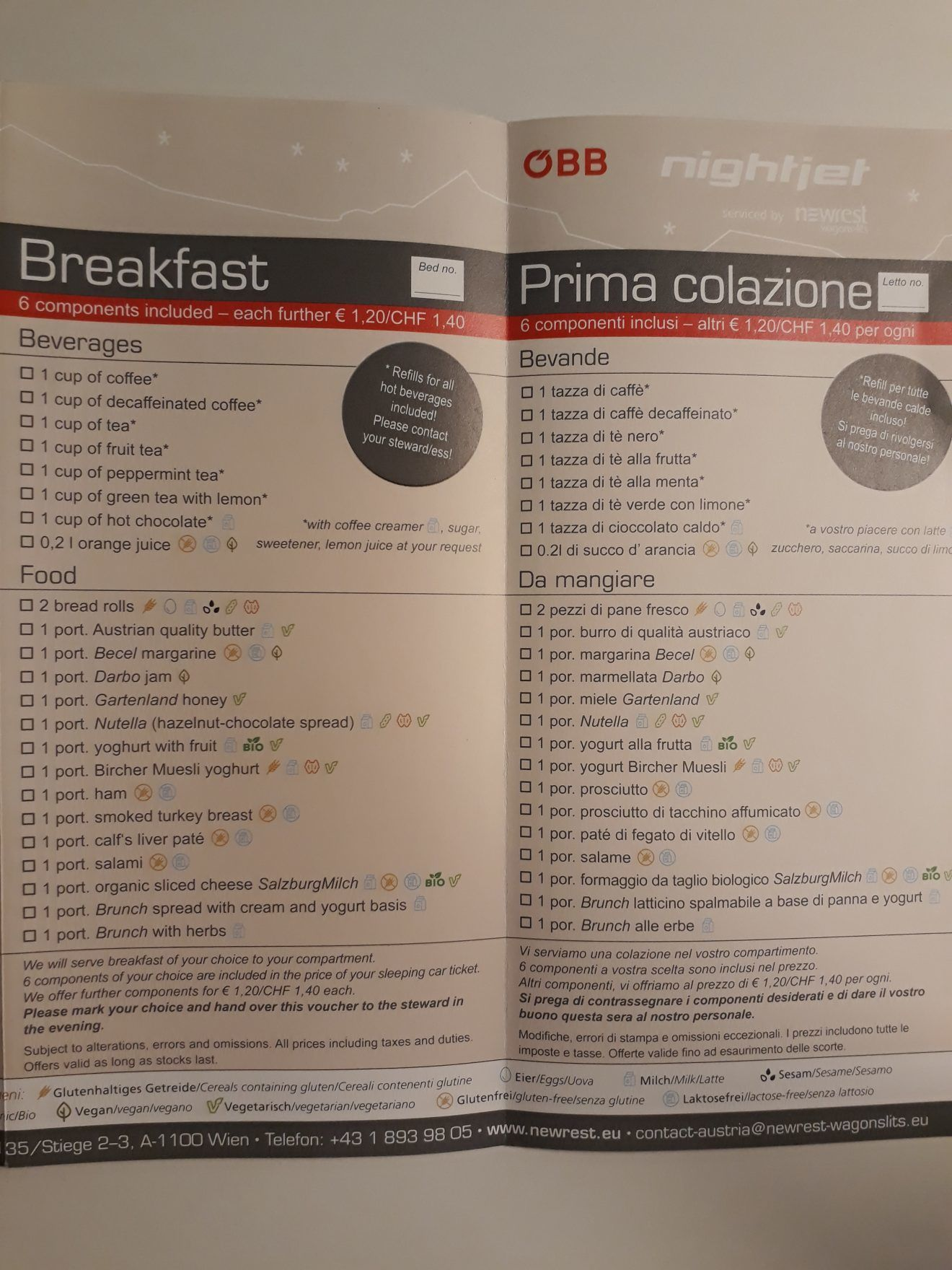Nightjet Breakfast Menu