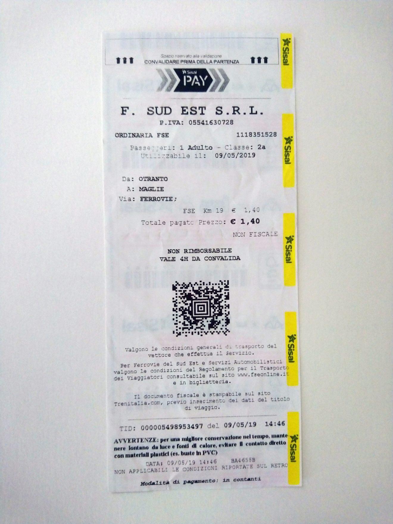 Sisal Pay Train Ticket