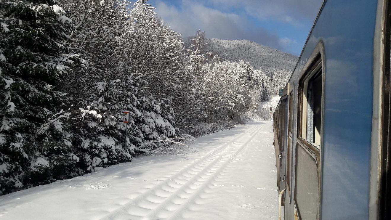 Czech train in the Snow