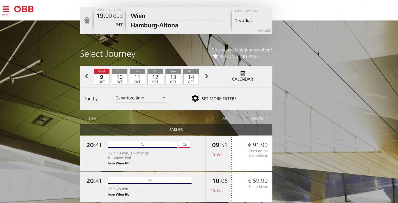 Nightjet + Eurail Interrail